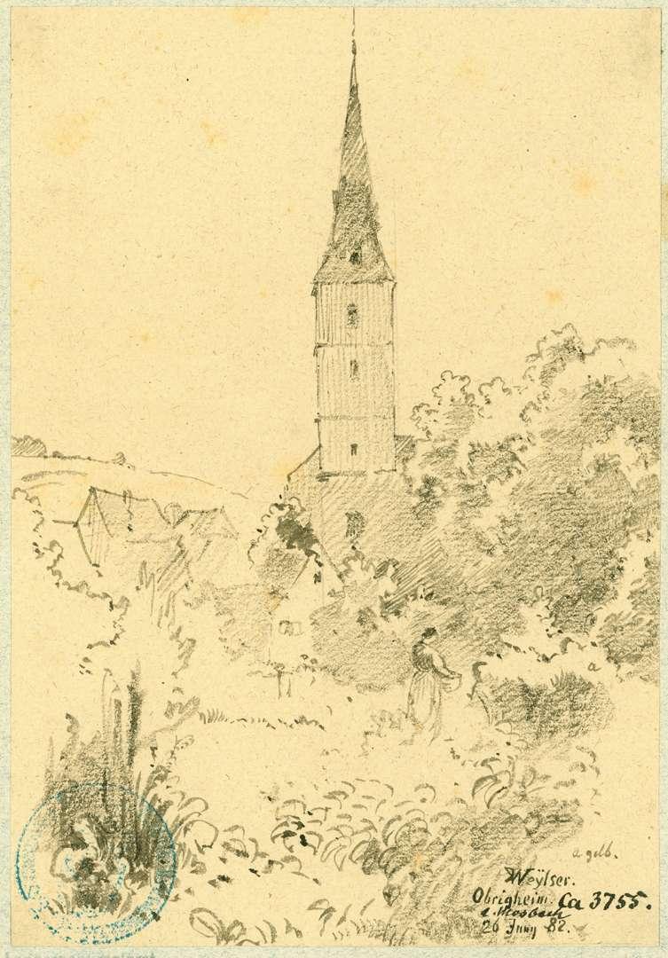 Obrigheim Dorfbild mit Kirche, Bild 1