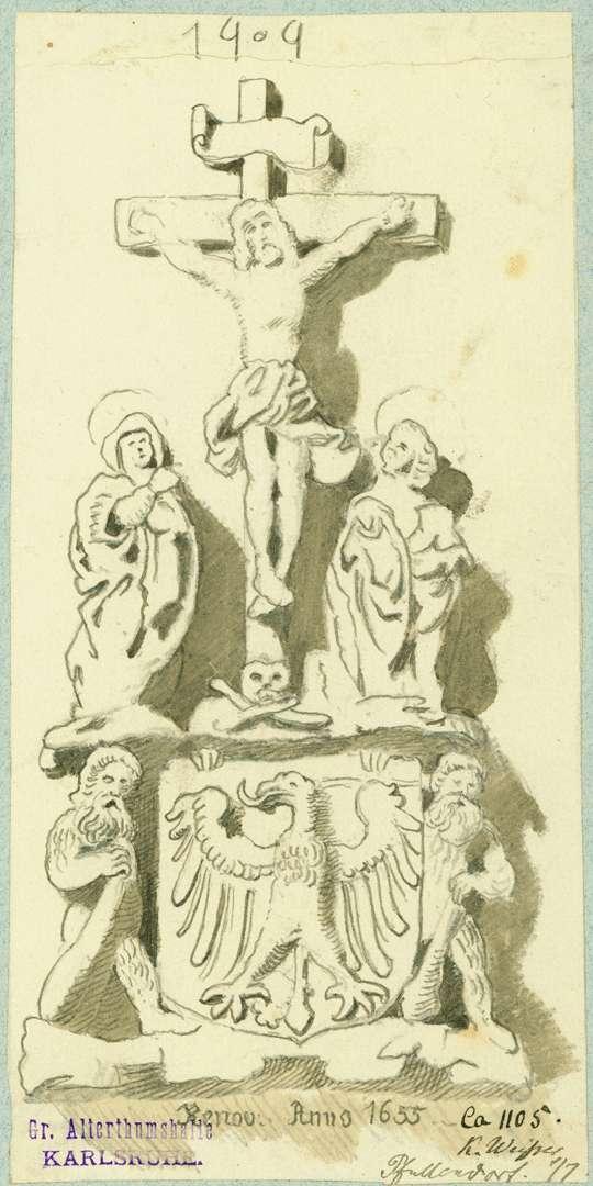 Pfullendorf Relief Stadttor mit Darstellung des Gekreuzigten zwischen Maria und Johannes, darunter ein Wappen, Bild 1
