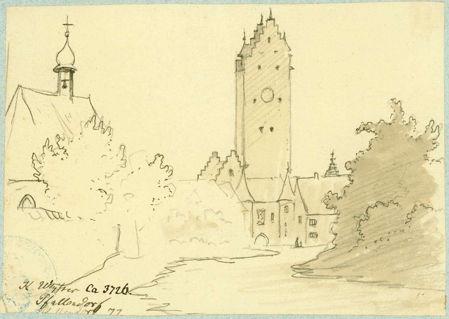 Pfullendorf Feldseitige Ansicht Stadttor mit Gottesackerkapelle, Bild 1