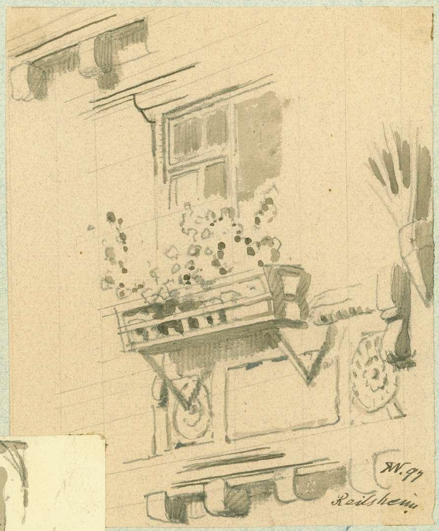 Reilsheim Teil Fachwerkhauswand mit Fenster und Blumenkasten, Bild 1