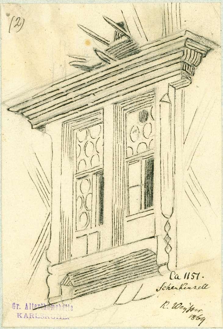 Schenkenzell Verzierte Fensterrahmung am Obergeschoss Giebelfassade Gasthaus zur Sonne, Bild 1