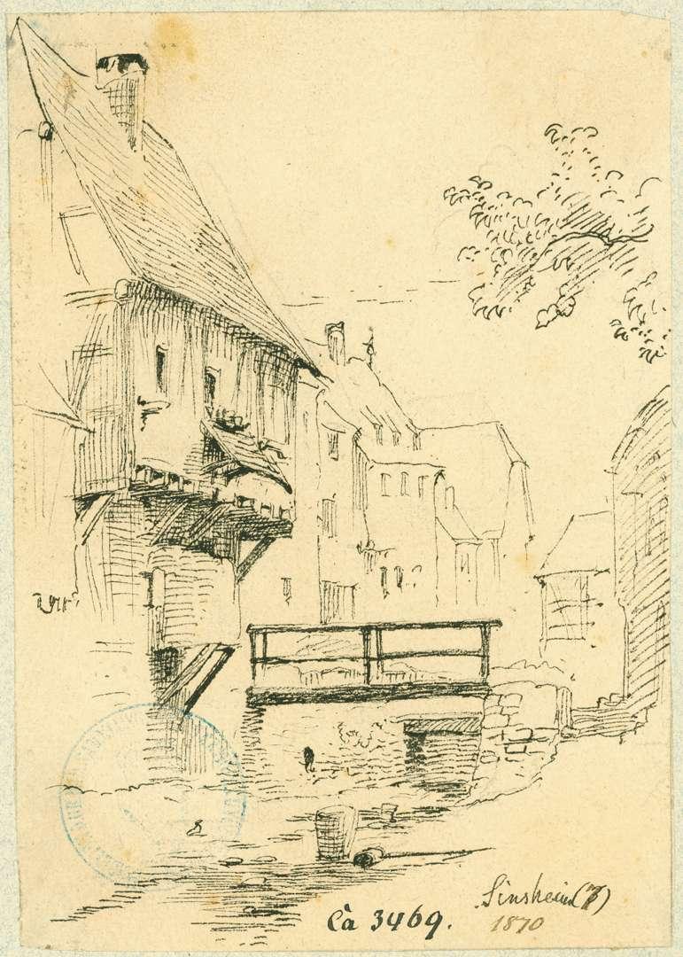 Sinsheim Häuser entlang der Elsenz, Bild 1
