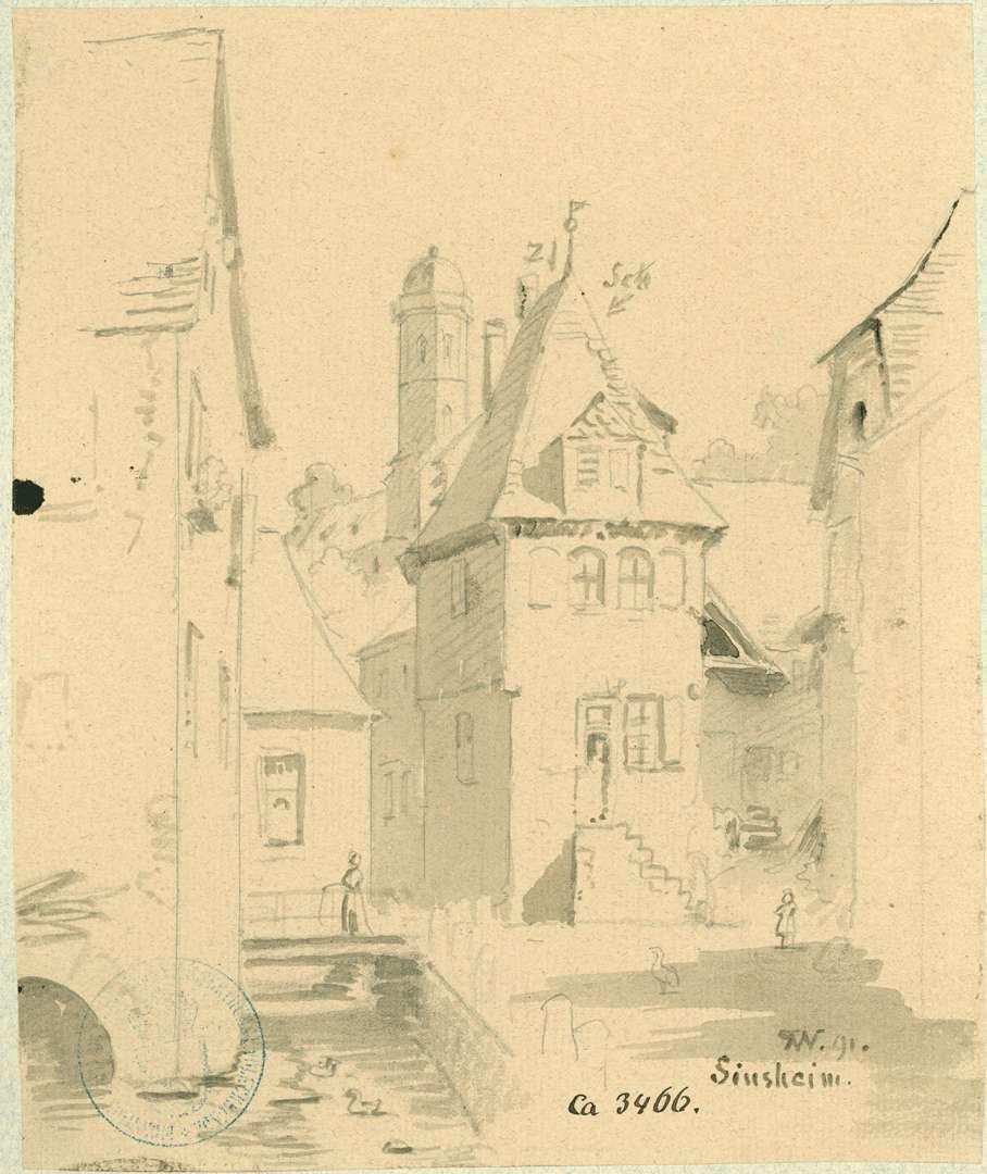 Sinsheim Einmündung Ziegelgasse in Alte Poststraße mit Blick auf Turm Stiftskirche, Bild 1