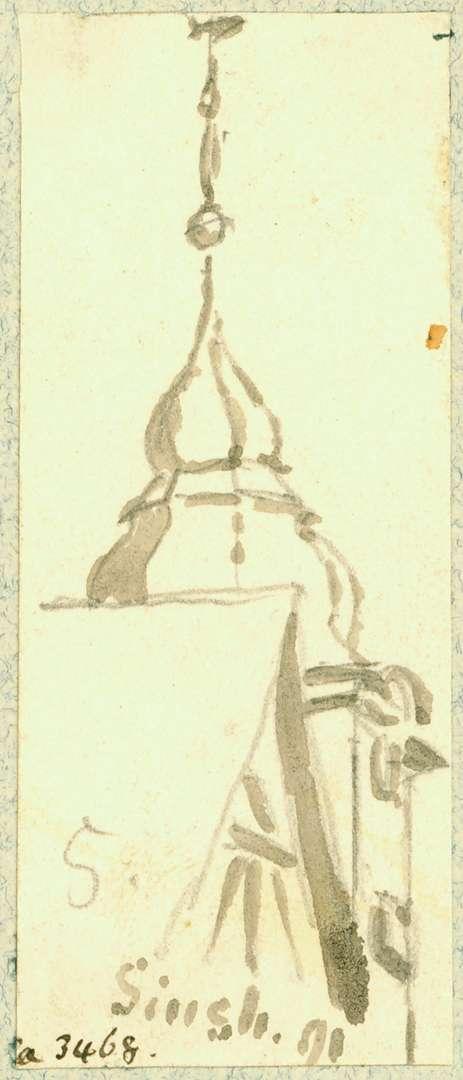 Sinsheim Hausdach, überragt von Turmspitze Pfarrkirche, Bild 1
