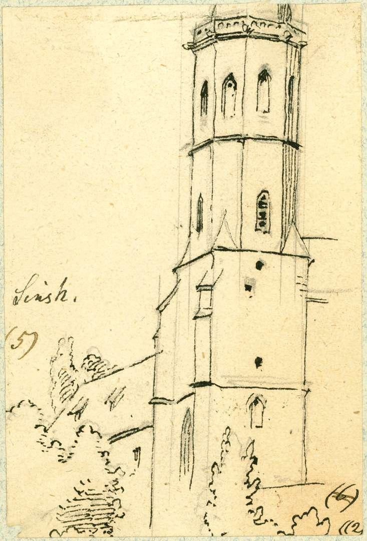 Sinsheim Turm Stiftskirche von Westen, Bild 1