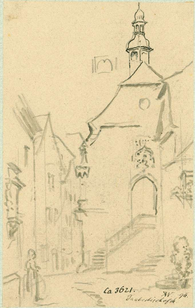 Tauberbischofsheim Westseite Sebastianskapelle mit Blick in die Straße, Bild 1