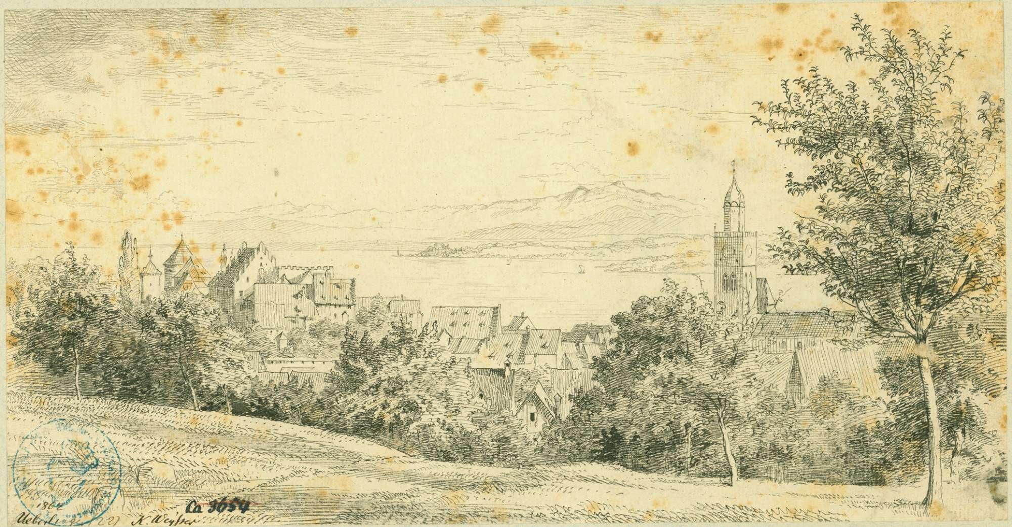 Überlingen Blick über die Stadt zum See und Säntis, Bild 1