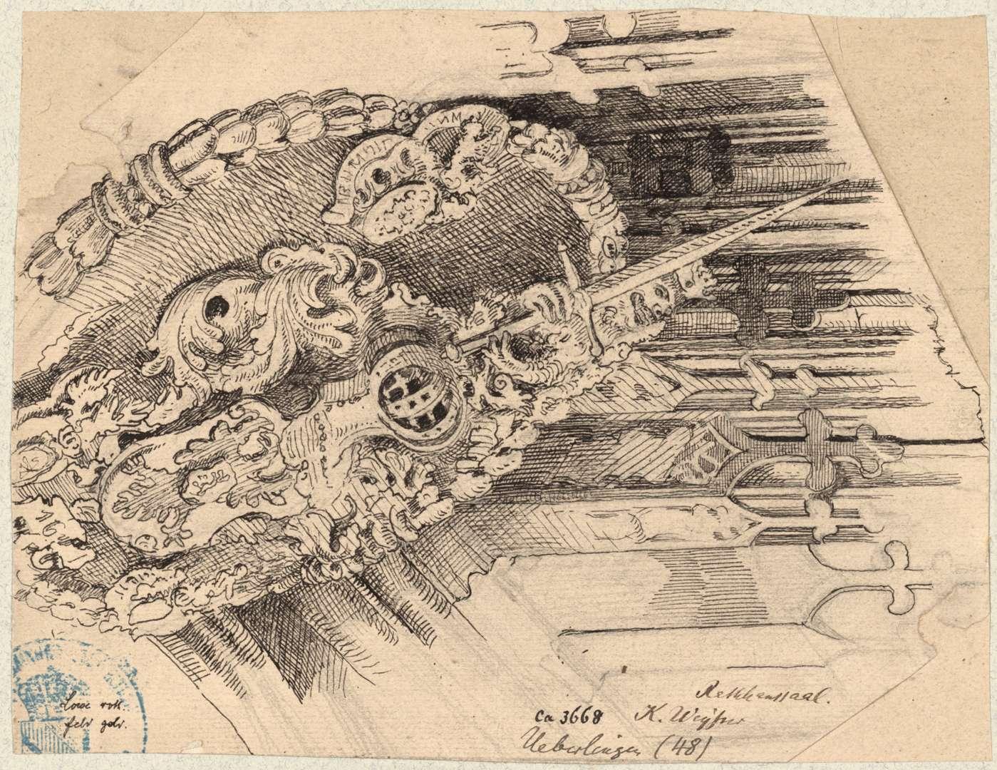 Überlingen Deckenmedaillon mit Wappen im Rathaussaal, Bild 1