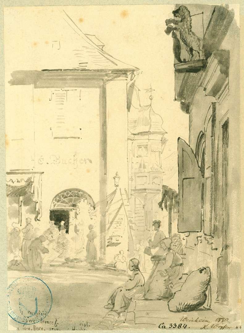 Weinheim Blick vom Marktplatz auf Deutschordenshaus, Bild 1
