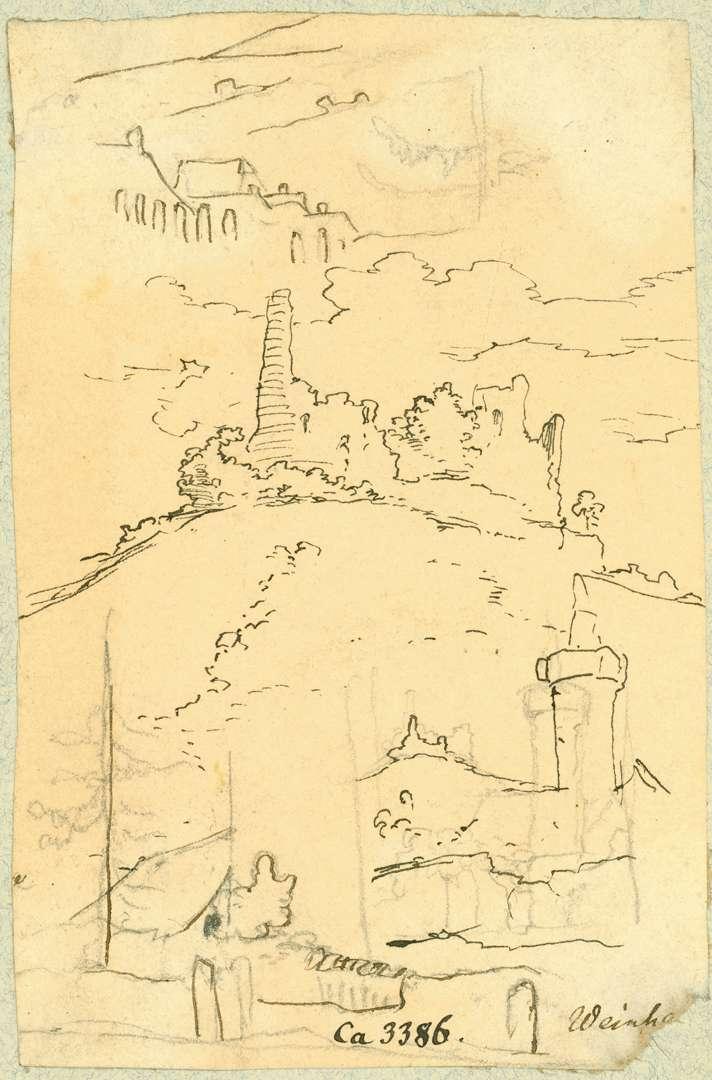 Weinheim Roter Turm mit Burg Windeck im Hintergrund, Bild 1