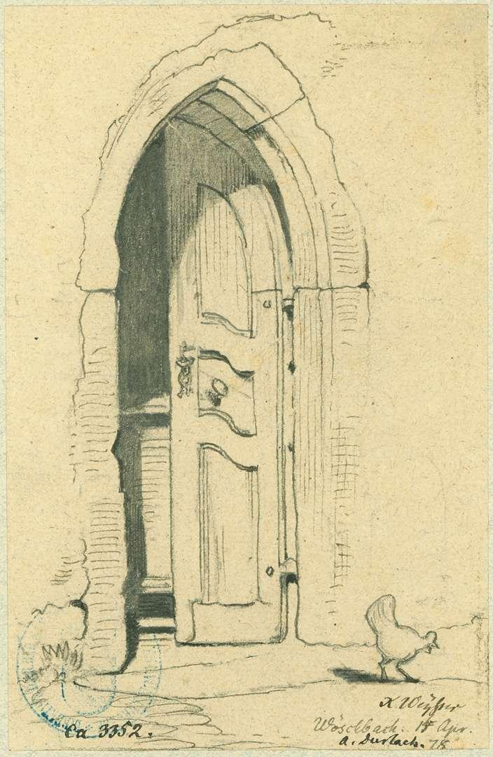 Wöschbach Hauseingang mit gotischer Holztür, Bild 1