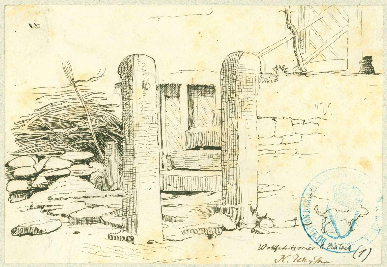 Wolfartsweier Torpfosten mit Steintreppe, Bild 1