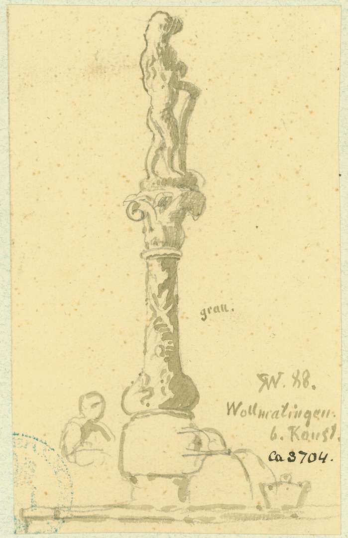 Wollmatingen Barocke Brunnensäule mit Wappen tragendem Löwen, Bild 1