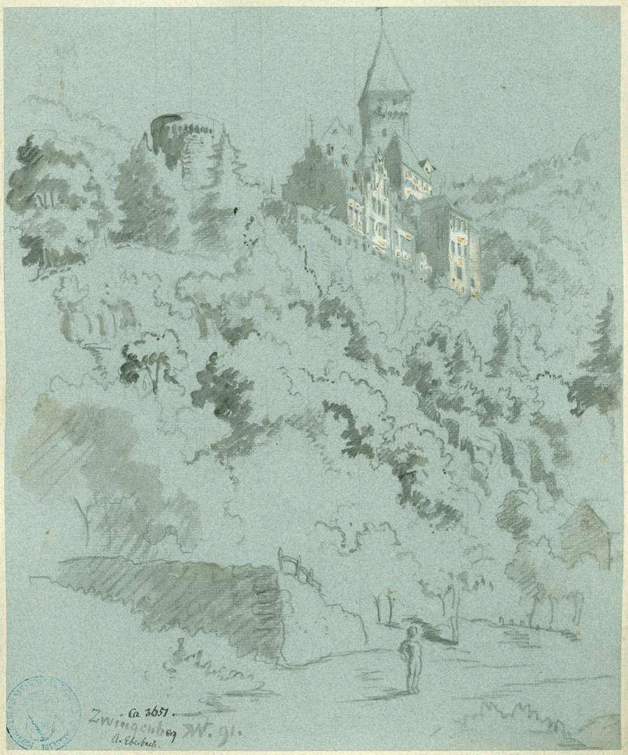 Zwingenberg Steilblick zur Burg, Bild 1