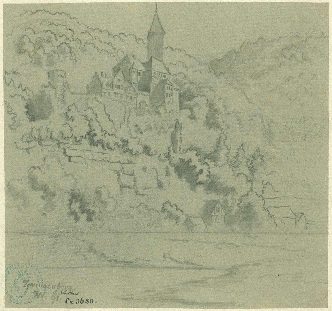 Zwingenberg Blick vom Neckar auf die Burg, Bild 1