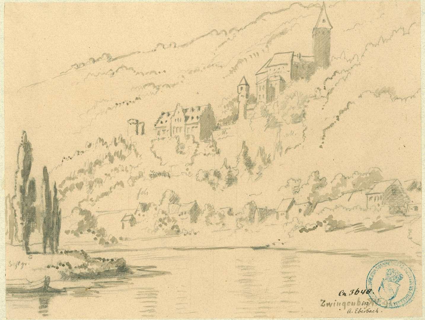 Zwingenberg Blick über den Neckar auf Stadt und Burg, Bild 1