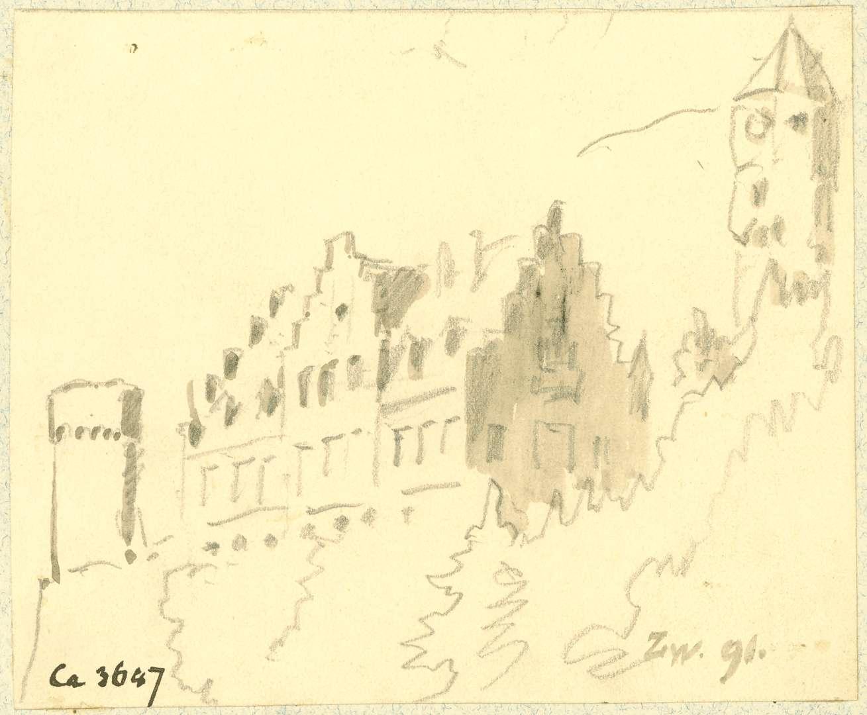 Zwingenberg Gebäude mit Treppengiebel, Flankierungsturm und Bergfried vom Neckar aus gesehen, Bild 1
