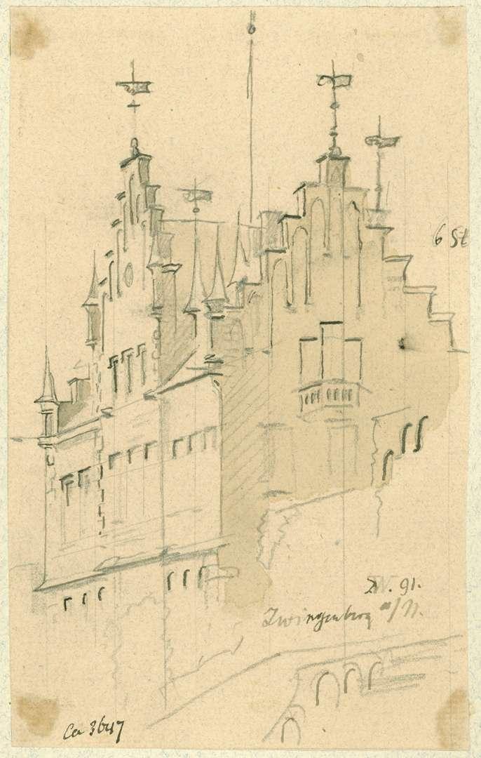 Zwingenberg Gebäude mit Treppengiebel im unteren Hof der Burg, Bild 1