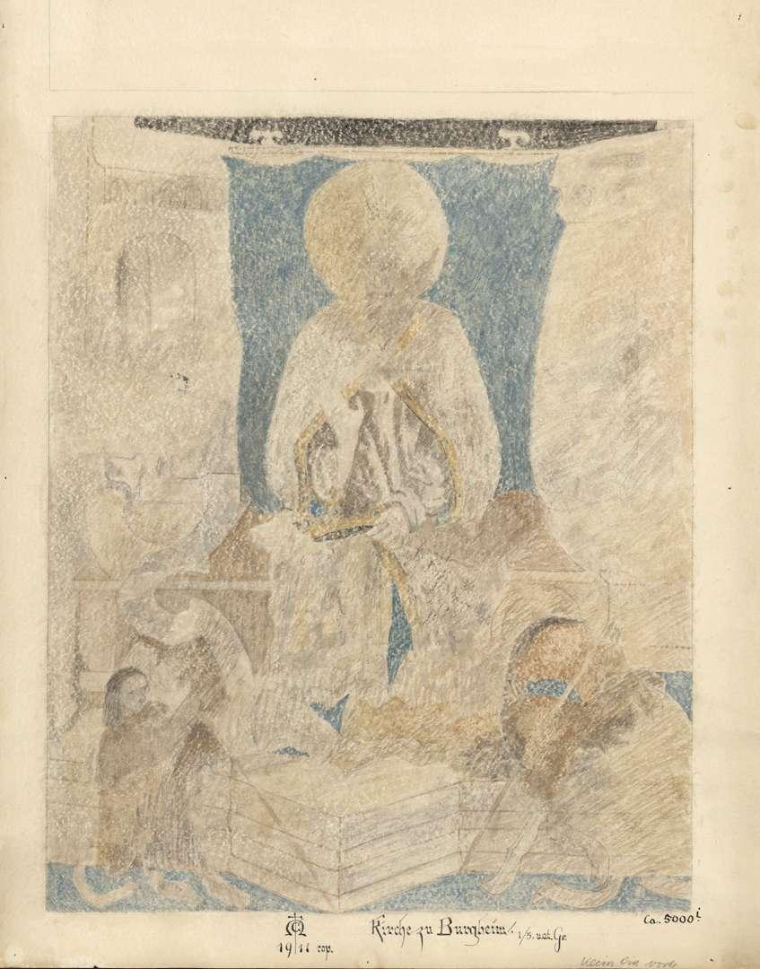 Burgheim Burgheimer Kirche Bild über der Eingangstür (thronender Jesus), Bild 1
