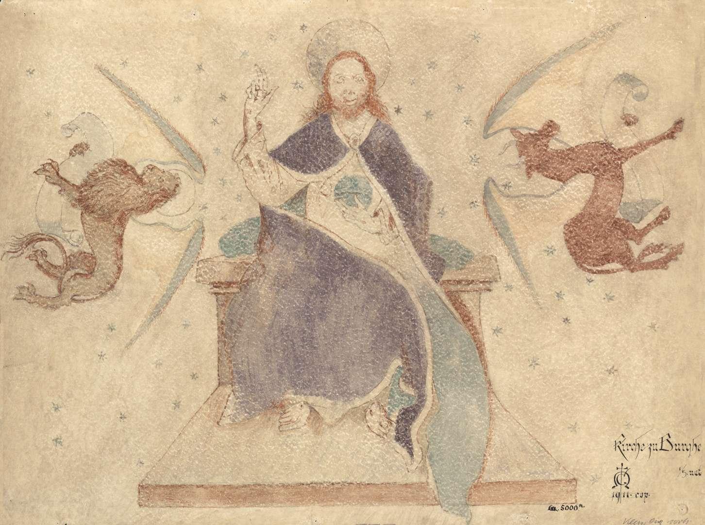 Burgheim Burgheimer Kirche Majestas Domini mit Löwe und Stier als Symbol der Evangelisten Markus und Lukas, Bild 1