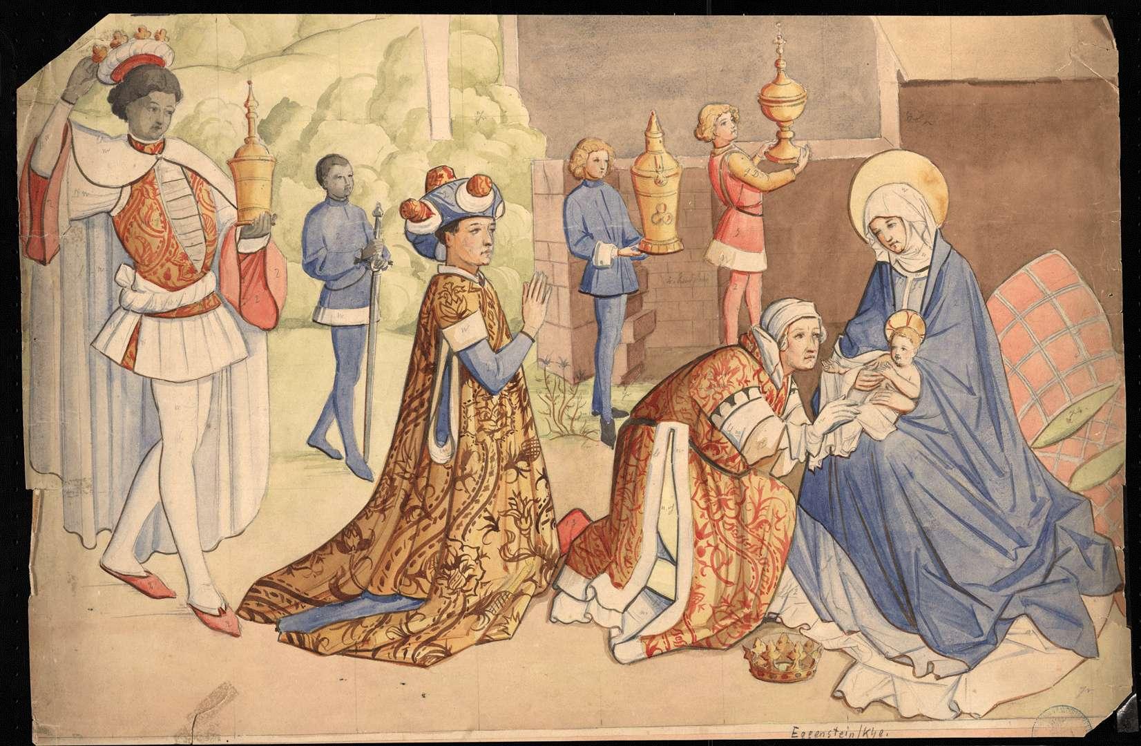 Eggenstein Evangelische Pfarrkirche Nördliche Chorwand: Anbetung der Heiligen Drei Könige, Bild 1