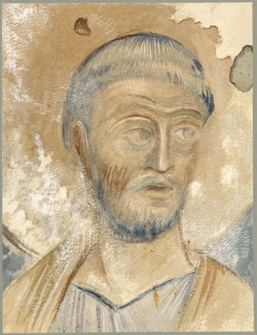 Goldbach St. Sylvester-Kapelle Kopf des Apostels Petrus von der Ostwand, Bild 1