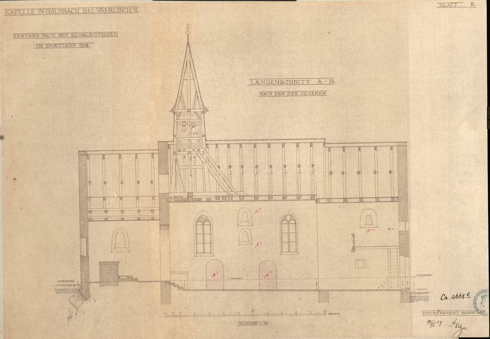 Goldbach St. Sylvester-Kapelle Längenschnitt nach dem See gesehen, Bild 1