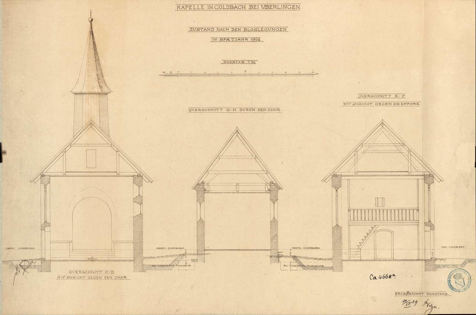 Goldbach St. Sylvester-Kapelle Querschnitt mit Ansicht gegen den Chor Querschnitt durch den Chor Querschnitt mit Ansicht gegen die Empore, Bild 1