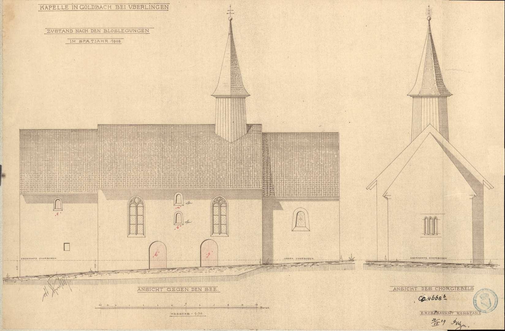 Goldbach St. Sylvester-Kapelle Ansicht gegen den See Ansicht des Chorgiebels, Bild 1
