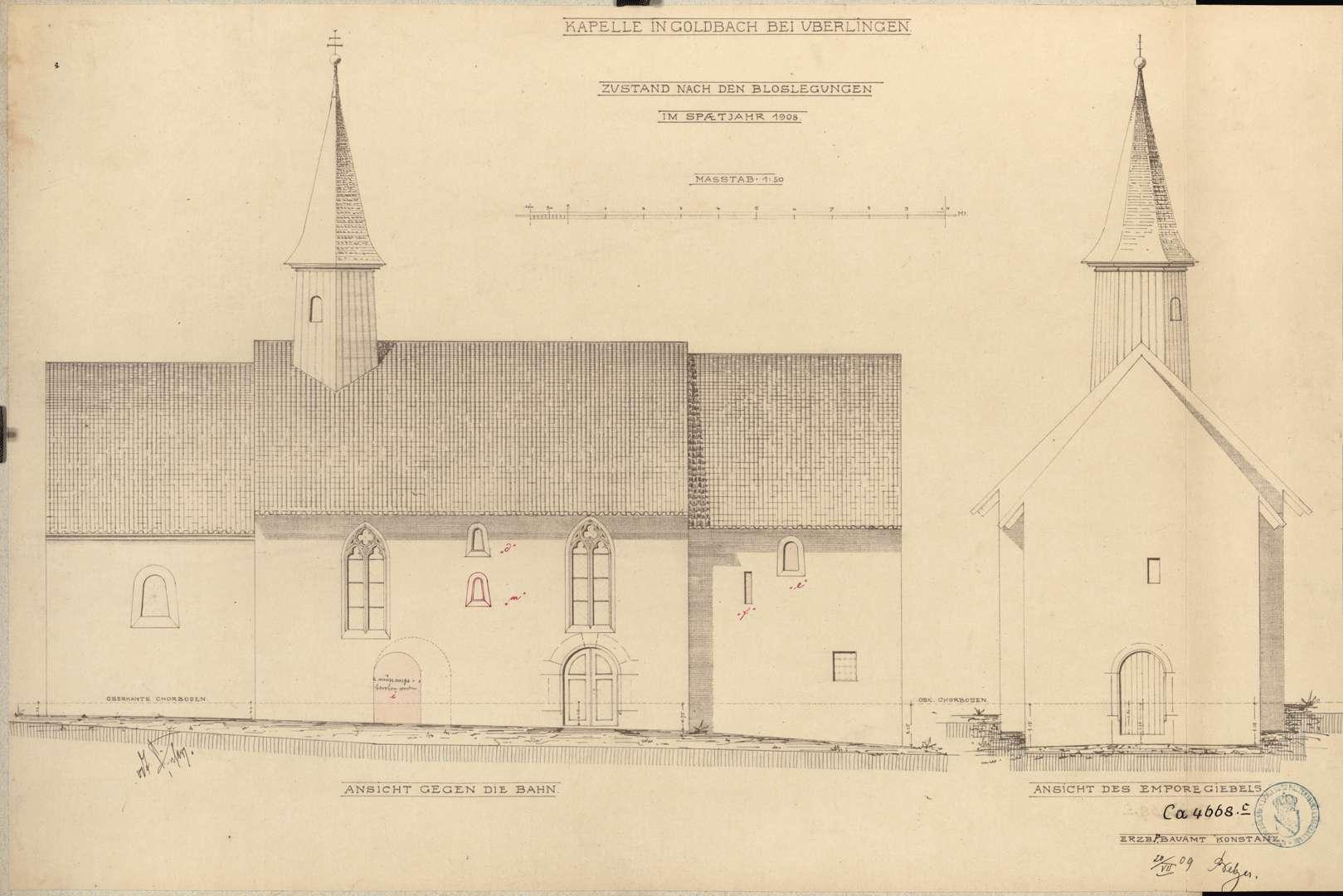 Goldbach St. Sylvester-Kapelle Ansicht gegen die Bahn Ansicht des Emporegiebels, Bild 1