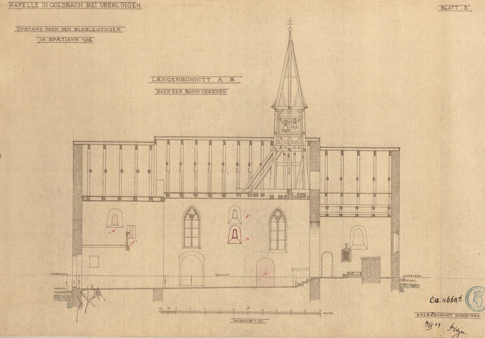 Goldbach St. Sylvester-Kapelle Längenschnitt nach der Bahn gesehen, Bild 1