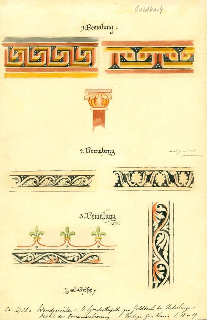 Goldbach St. Sylvester-Kapelle Details der Ornamentierung, Bild 1