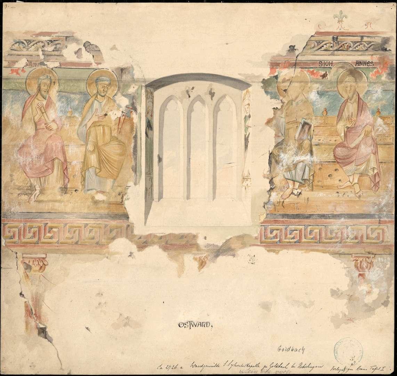 Goldbach St. Sylvester-Kapelle Apostelabbildungen auf der Ostwand des Chores, Bild 1