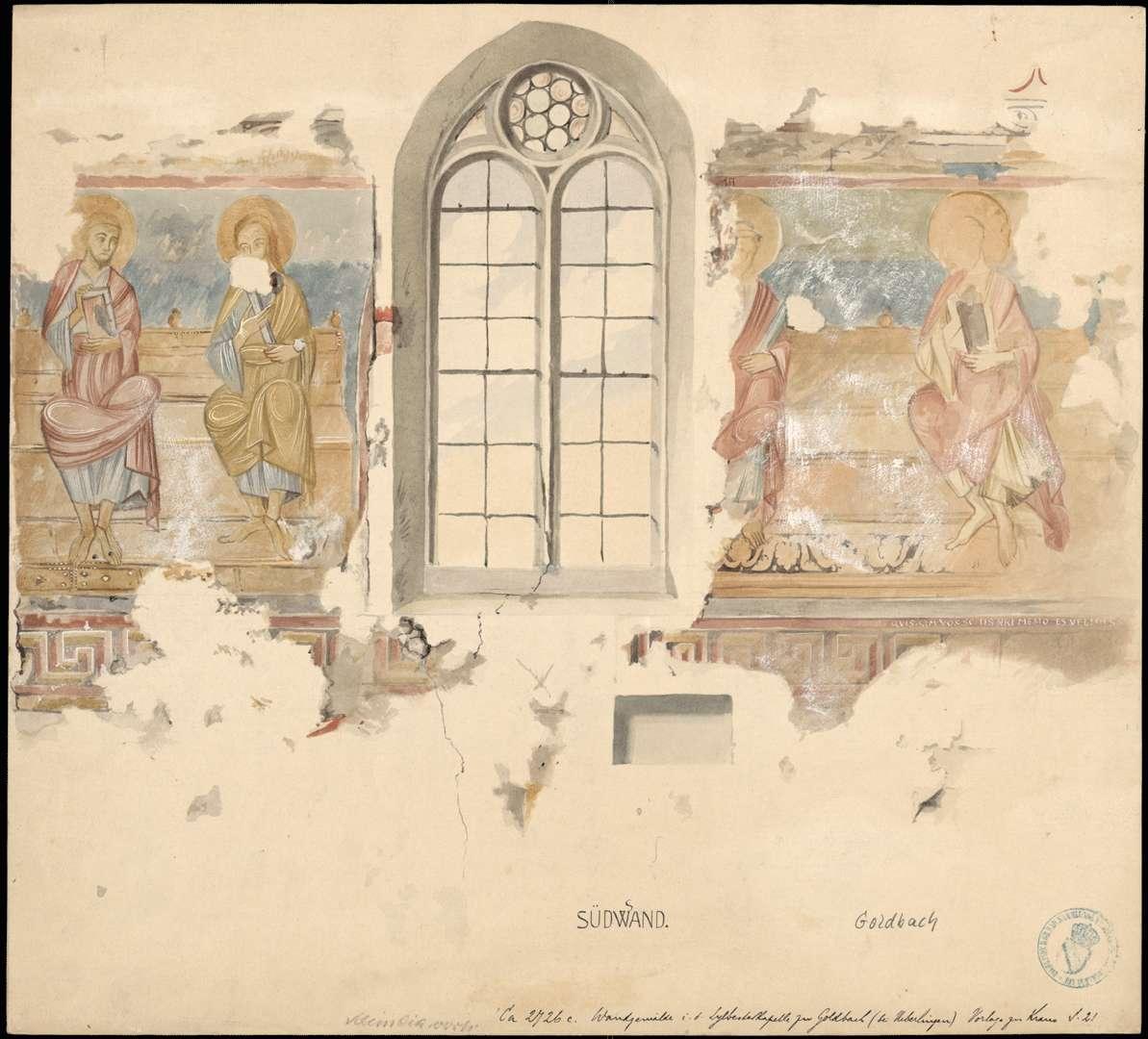 Goldbach St. Sylvester-Kapelle Apostelabbildungen auf der Süddwand des Chores, Bild 1