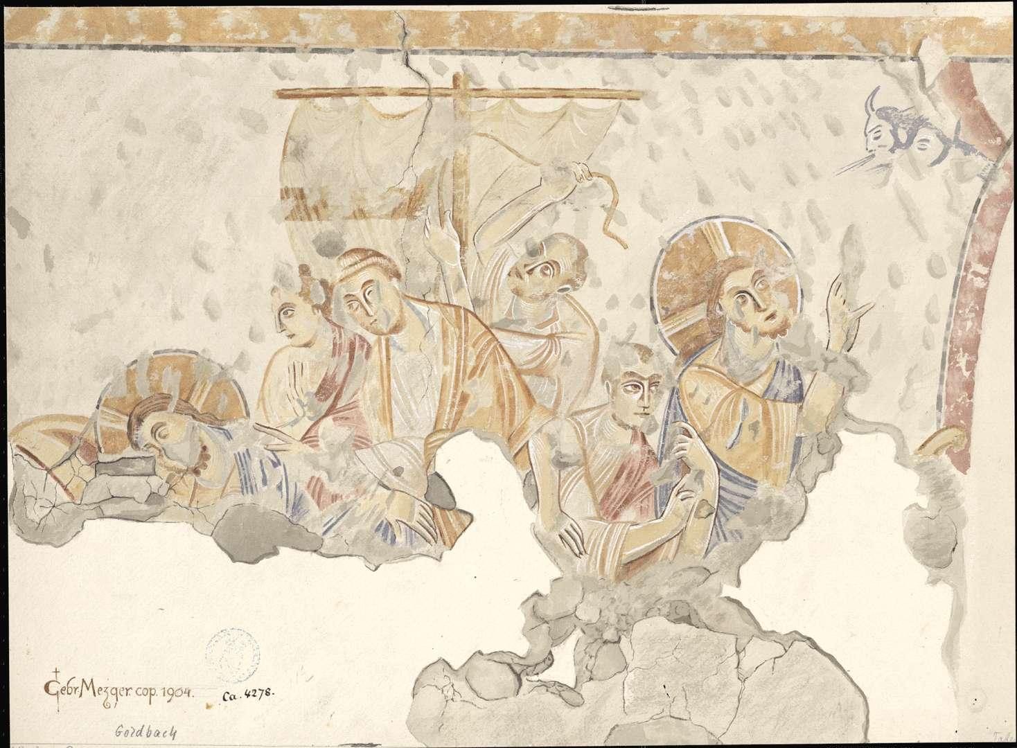 Goldbach St. Sylvester-Kapelle Besänftigung des Sturms auf dem See Genezareth auf der Nordwand des Kirchenschiffes, Bild 1