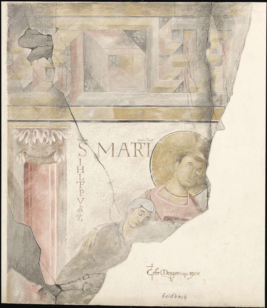 Goldbach St. Sylvester-Kapelle Heiliger Marcianus mit der Kirchenstifterin IHLTEPUR(G) auf der Ostwand des Kirchenschiffes, Bild 1