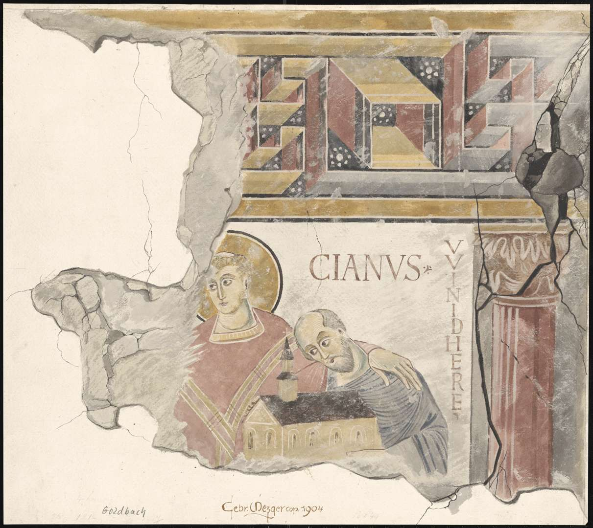 Goldbach St. Sylvester-Kapelle Heiliger Marcianus mit dem Kirchenstifter VVINIDHERE auf der Ostwand des Kirchenschiffes, Bild 1