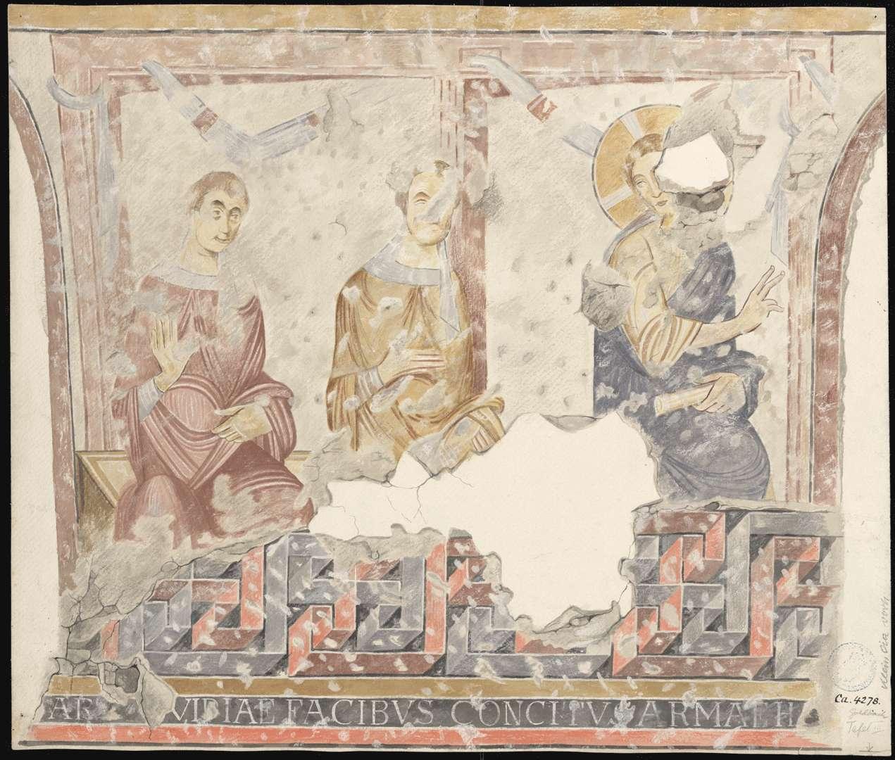 Goldbach St. Sylvester-Kapelle Streitgespräch mit Pharisäern auf der Südwand des Kirchenschiffes, Bild 1