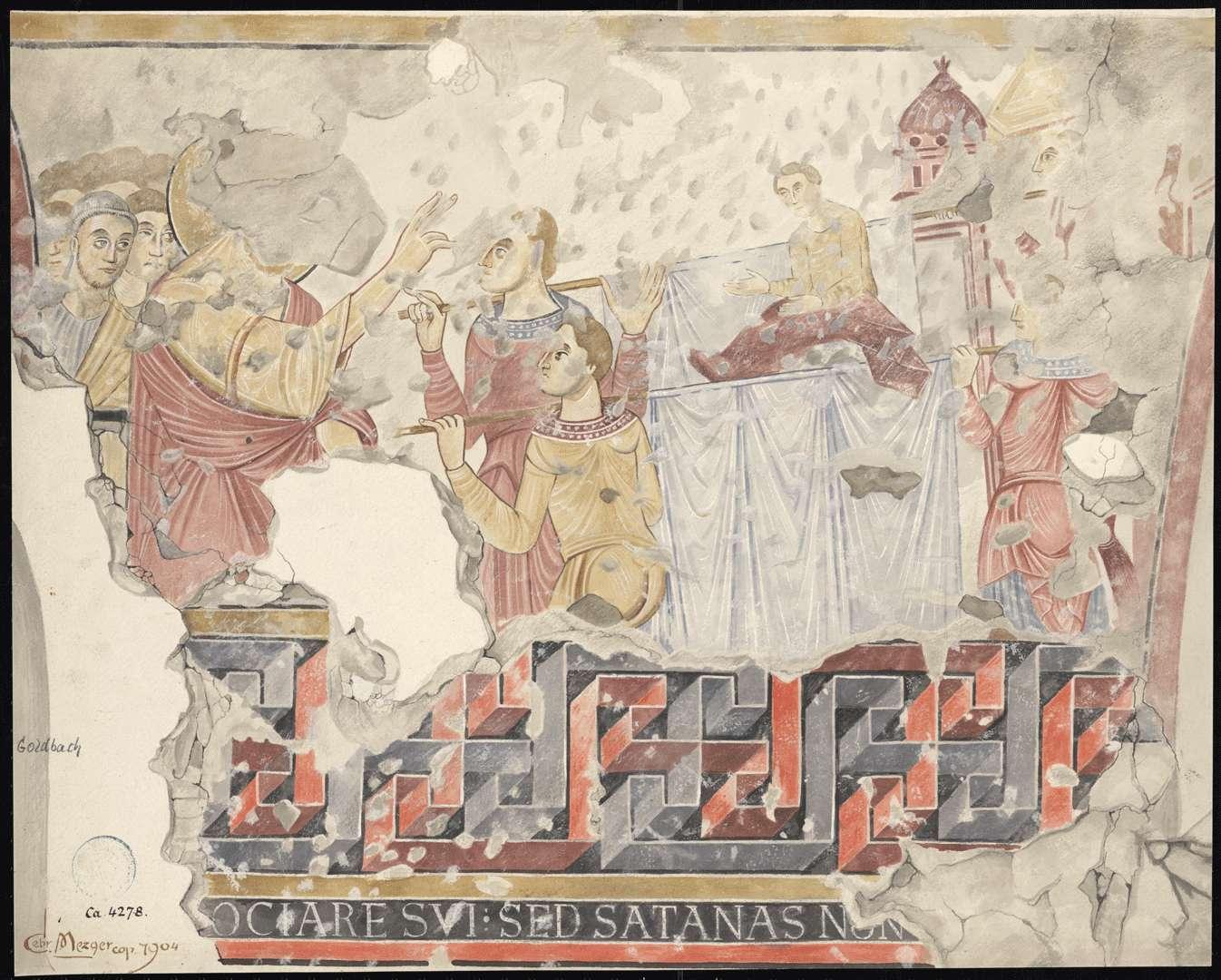 Goldbach St. Sylvester-Kapelle Die Erweckung des Jünglings von Naim auf der Südwand des Kirchenschiffes, Bild 1