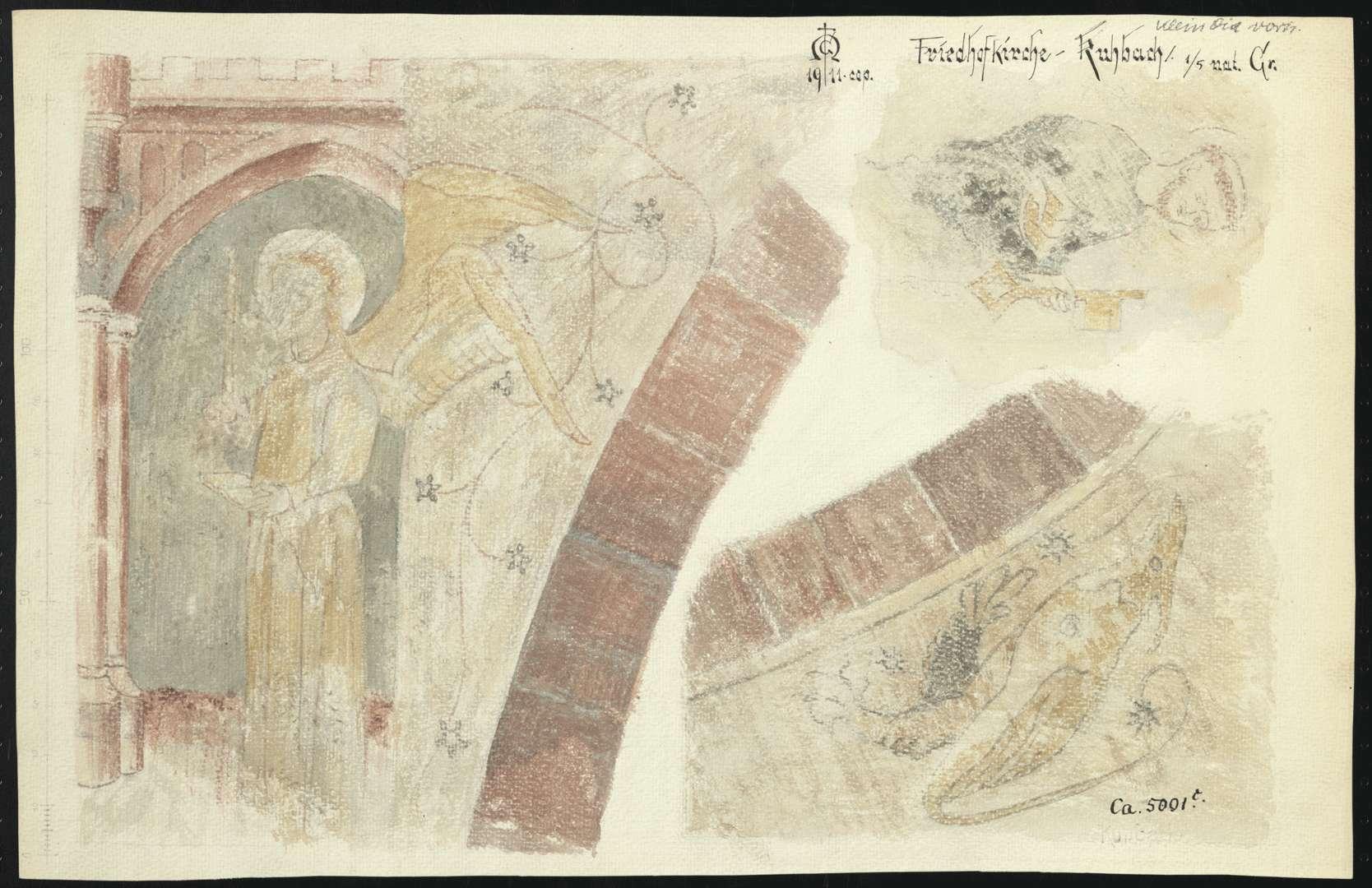Kuhbach Galluskirche (Friedhofkirche Kuhbach) Darstellung des Erzengel Gabriel (Verkündigungsszene), Mönch mit Schlüssel, Ornamente und Tier an Tür- oder Fensterbogen, Bild 1