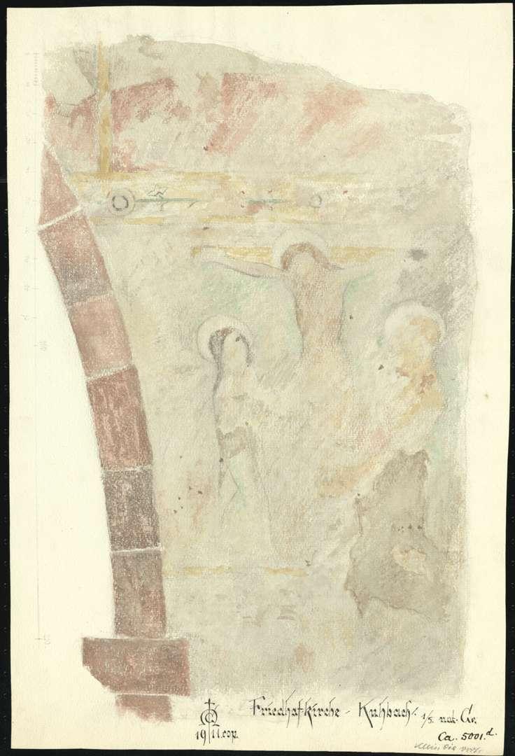 Kuhbach Galluskirche (Friedhofkirche Kuhbach) Darstellung einer Kreuzigungsszene an Tür- oder Fensterbogen, Bild 1