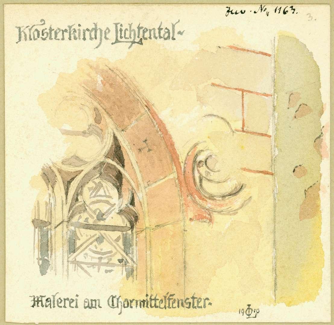 Lichtental Reste alter Fassadenmalereien im Kloster Lichtental Chormittelfenster der Klosterkirche, Bild 1