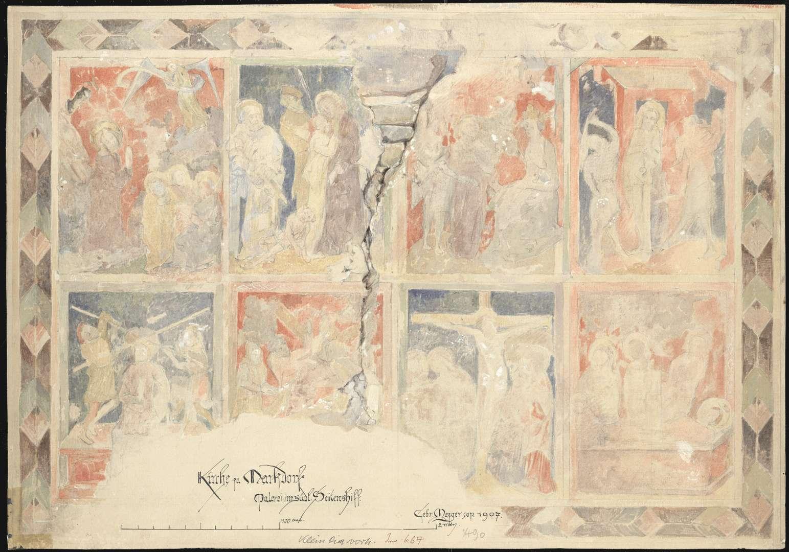 Markdorf St.-Nikolaus-Kirche Szenen der Leidensgeschichte und der Auferstehung Christi im südlichen Seitenschiff - Ostwand, Bild 1