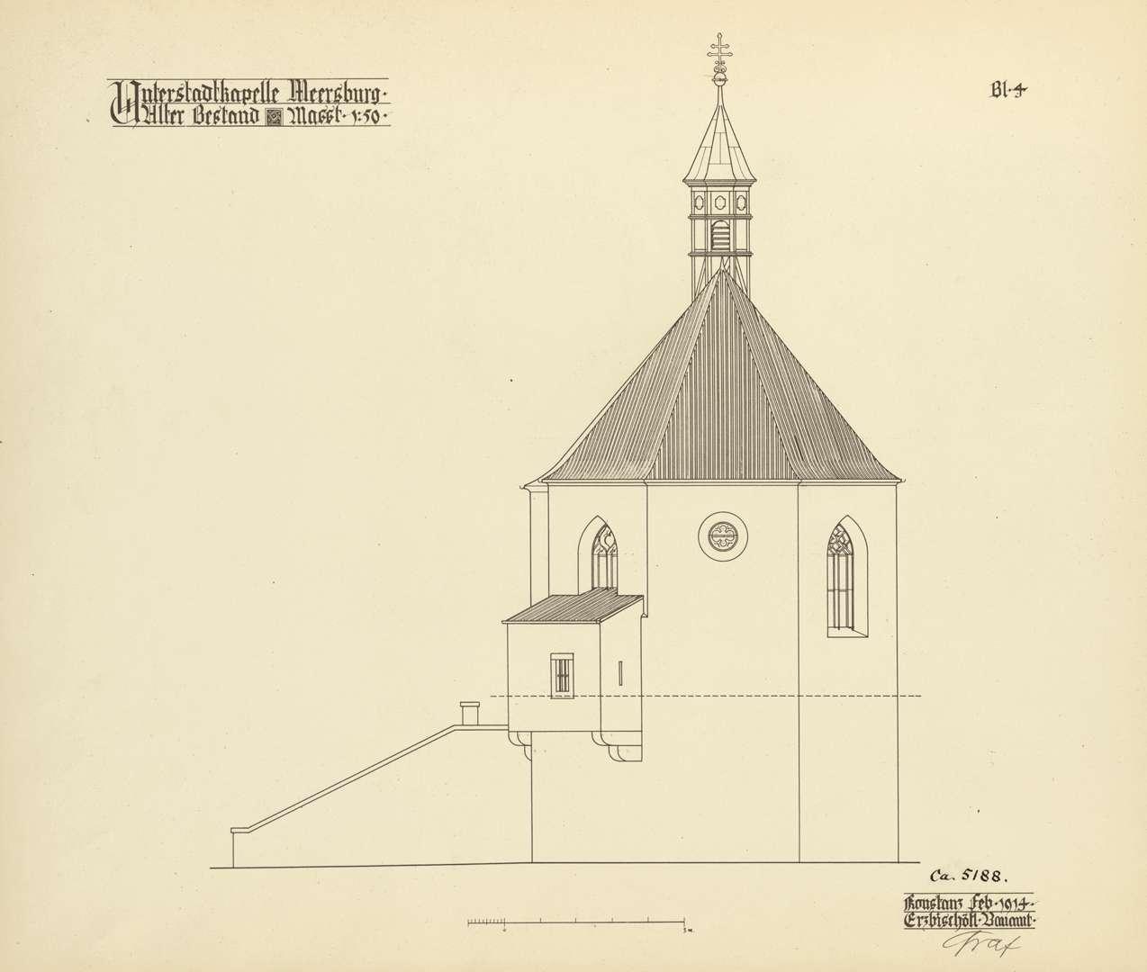 Meersburg Unterstadtkirche St. Johannes der Täufer Alter Bestand Blatt 4: Choransicht von Osten, Bild 1