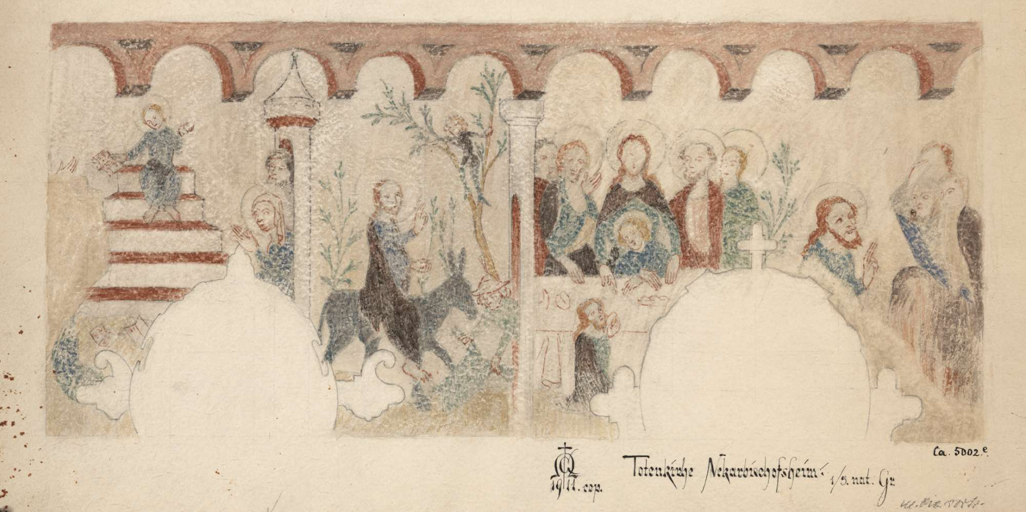 Neckarbischofsheim Totenkirche (ursprünglich Pfarrkirche St. Johannes der Täufer) Szenen aus dem Leben Jesu (Neues Testament) an der Südwand des Chores, Bild 1