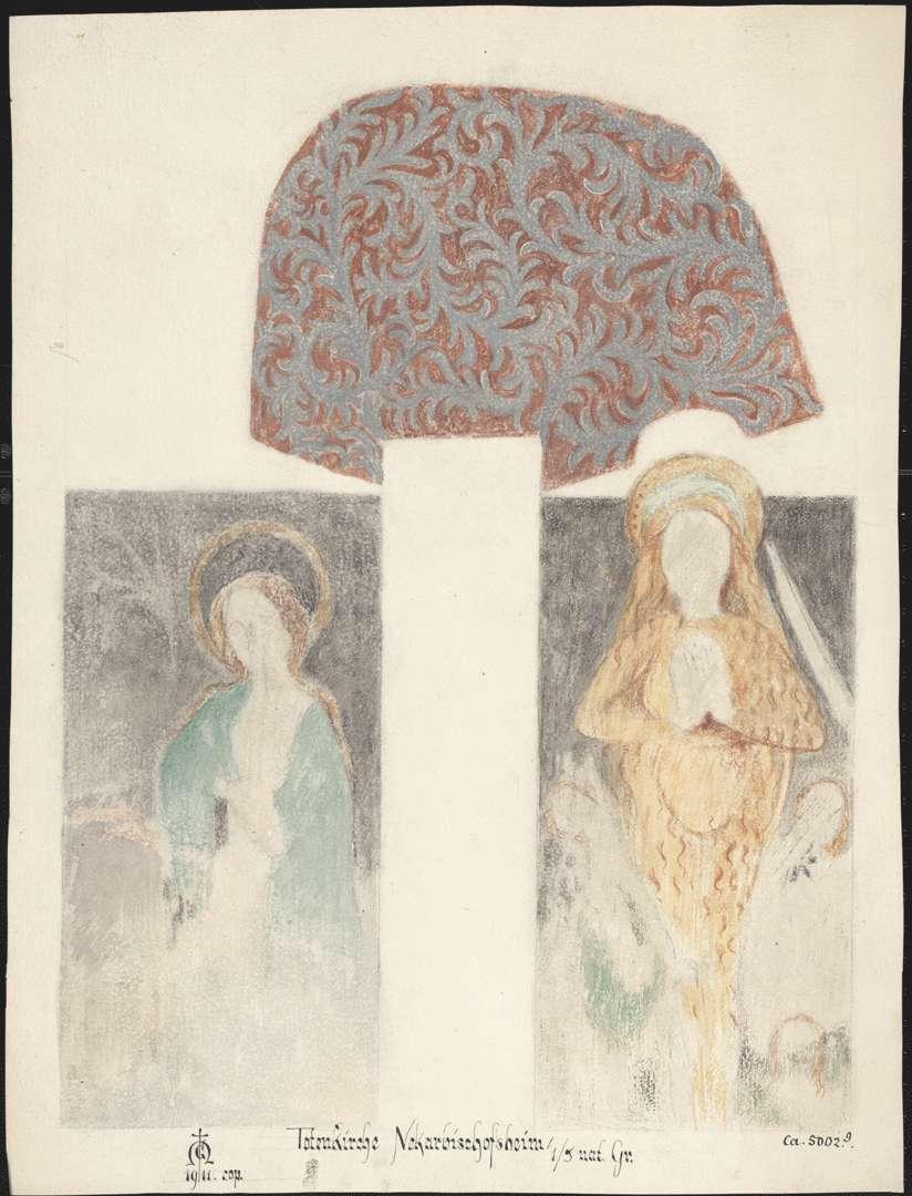 Neckarbischofsheim Totenkirche (ursprünglich Pfarrkirche St. Johannes der Täufer) Maria Magdalena und weibliche Heilige an der Südseite des Langhauses am Gewände des ersten Fensters von Osten, Bild 1