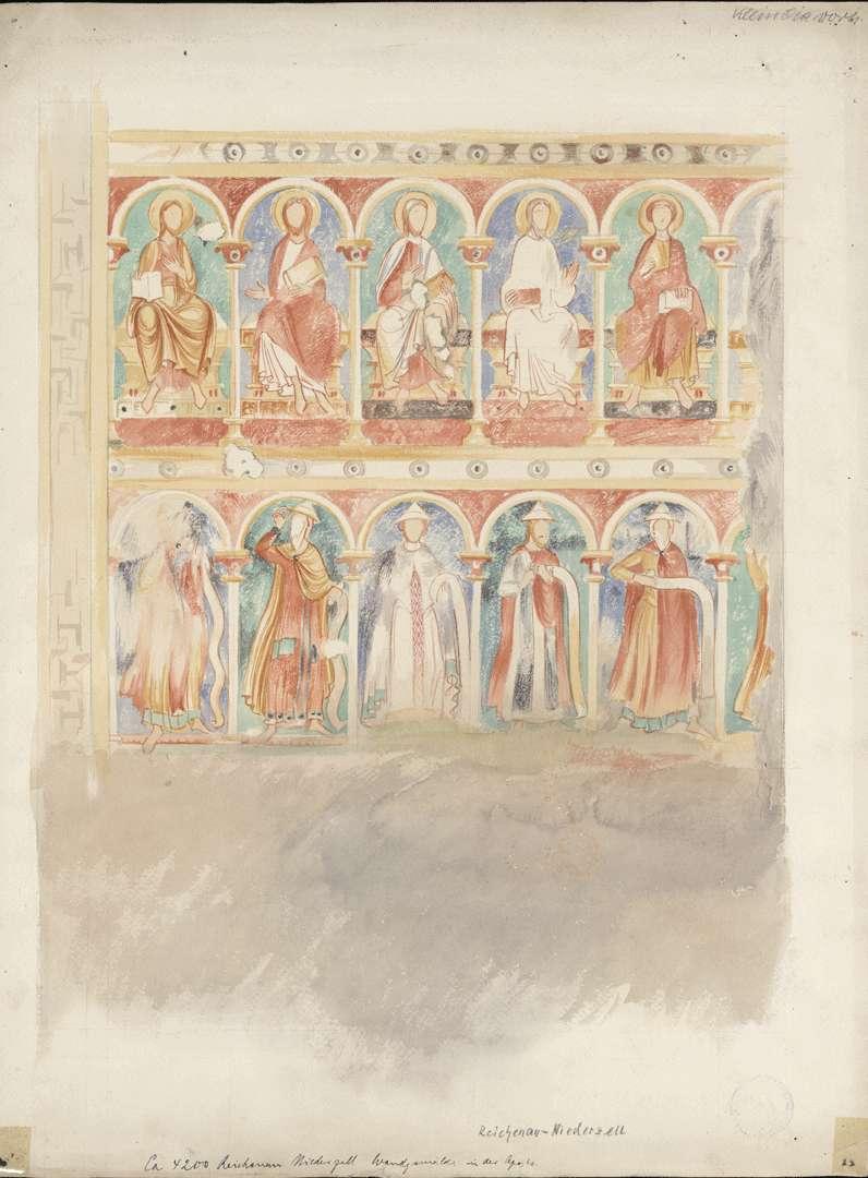Niederzell Kirche St. Peter und Paul Zwei Zonen mit (ehemals) sechs Aposteln und Propheten links des Fensters in der Hauptapsis, Bild 1