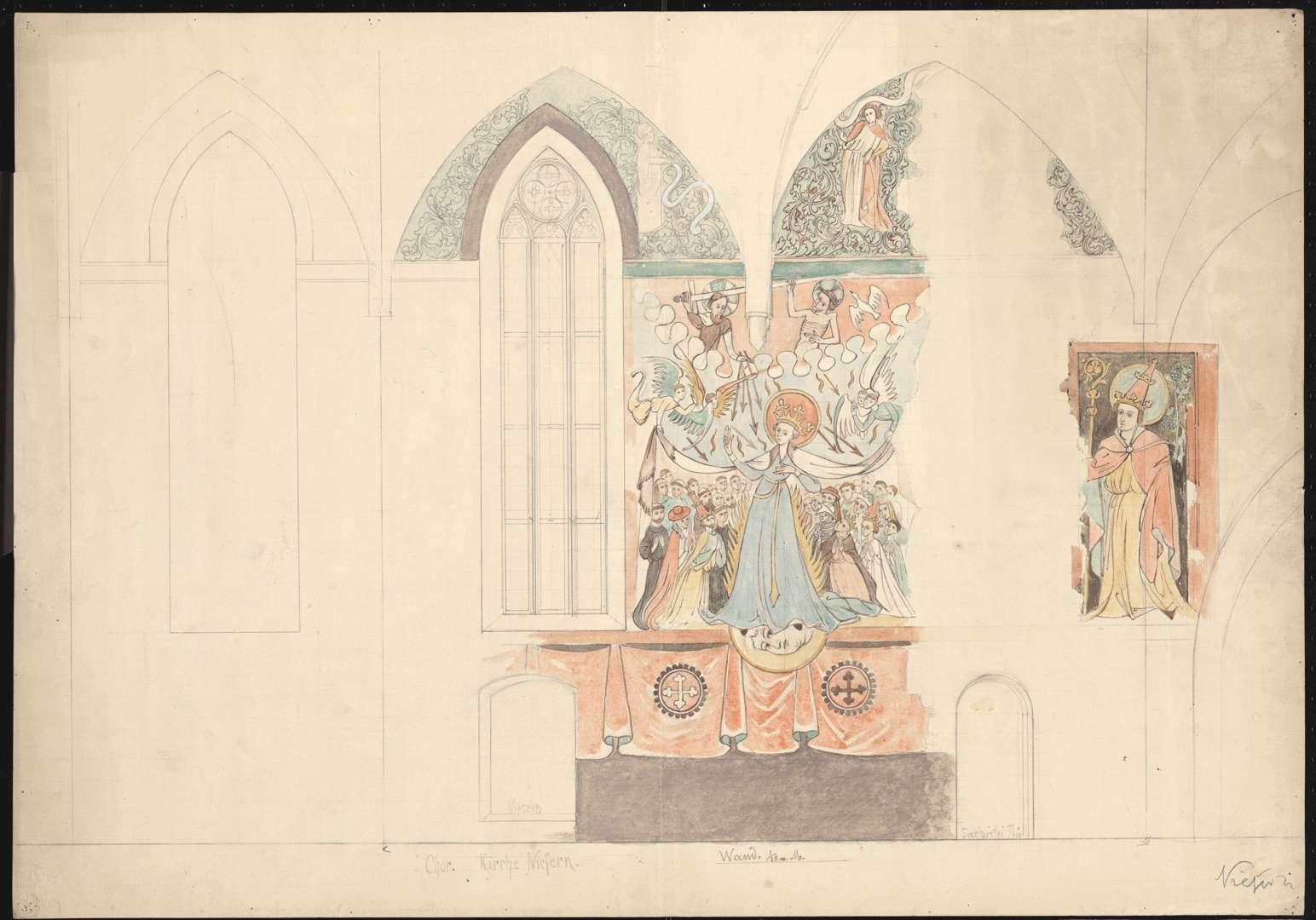 Niefern Evangelische Pfarrkirche Schutzmantel-Madonna an der Chorsüdwand, daneben ein heiliger Bischof, Bild 1