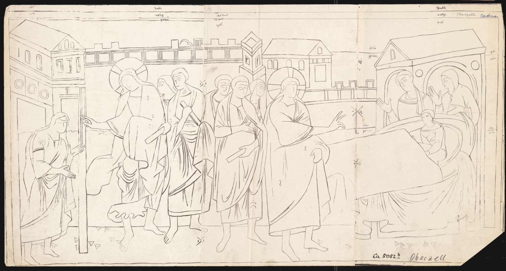 Oberzell Kirche St. Georg Heilung der blutflüssigen Frau und Auferweckung der Tochter des Jairus an der Südwand des Langhauses, Bild 1