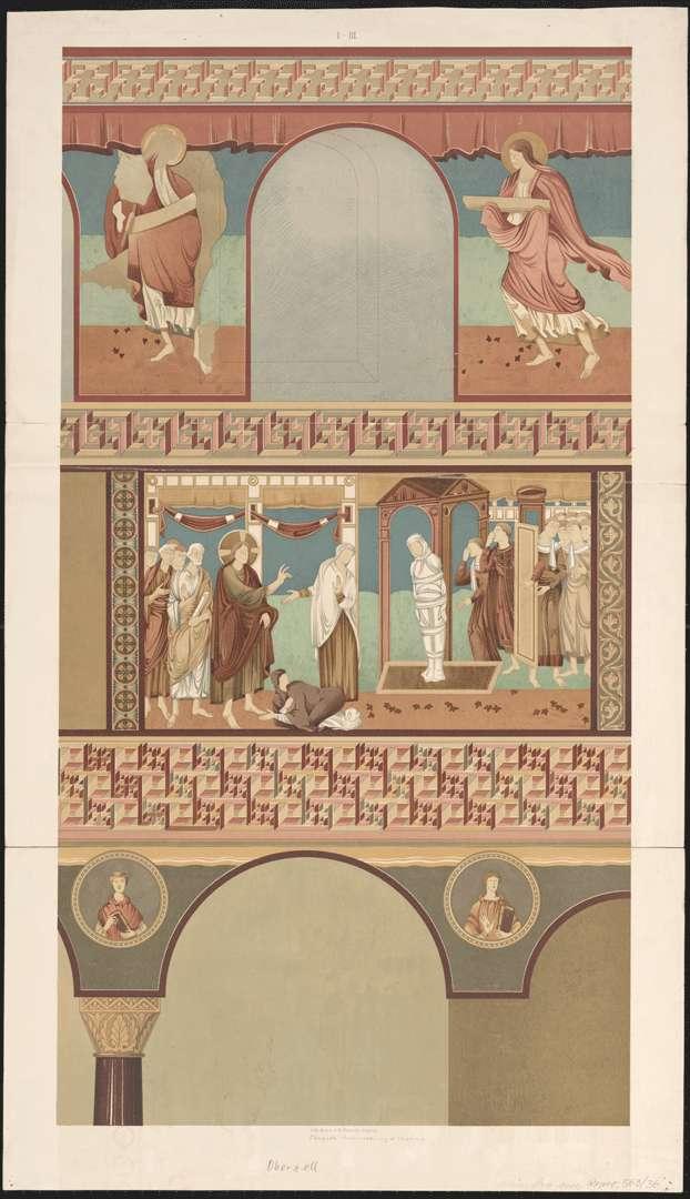 Oberzell Kirche St. Georg Ausschnit der Südwand des Langhauses mit Auferweckung des Lazarus und 2 Apostel, Bild 1